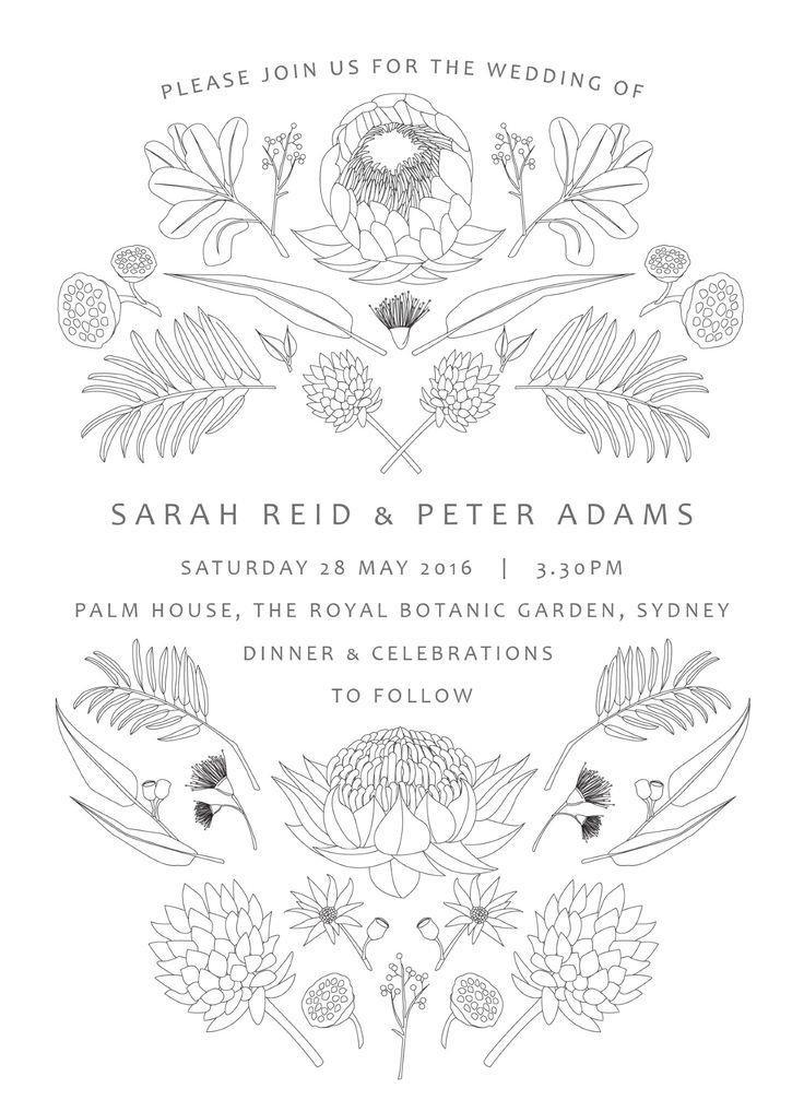 Digital printing - Wedding invitations | Cascade page of Australian Native Colour | This invitation card is from the rustic wedding invitation set, 'Native' by designer Tameka Allard. This wedding card features Australian fauna, making it perfect for any outdoor or bush wedding. Coming in black and white, this design can also be coloured in by your guests. This set is available as a digital print only.