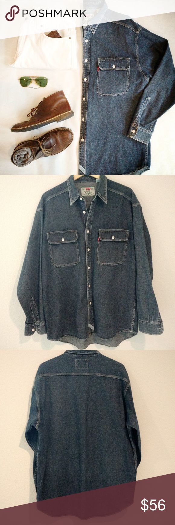 """LEVI'S Vintage Dark Blue Denim Big Shirt sz L Levi Strauss doesn't make shirts like this anymore. Stunning dark denim, this shirt is in mint condition. Freshly laundered and pressed. It's a men's large, and would also fit like a women's XL. Chest 50"""" around, length 29"""" from collar to hem along the back. 100% cotton. White buttons.  A true basic. You'll wear this Levi's shirt year around and it will last forever. Levi's Jeans"""