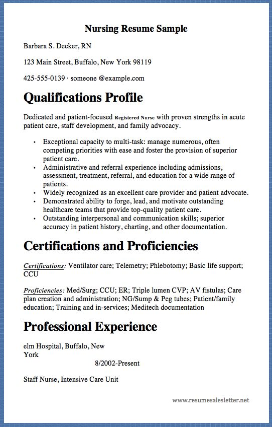 nursing resume sample barbara s  decker  rn 123 main