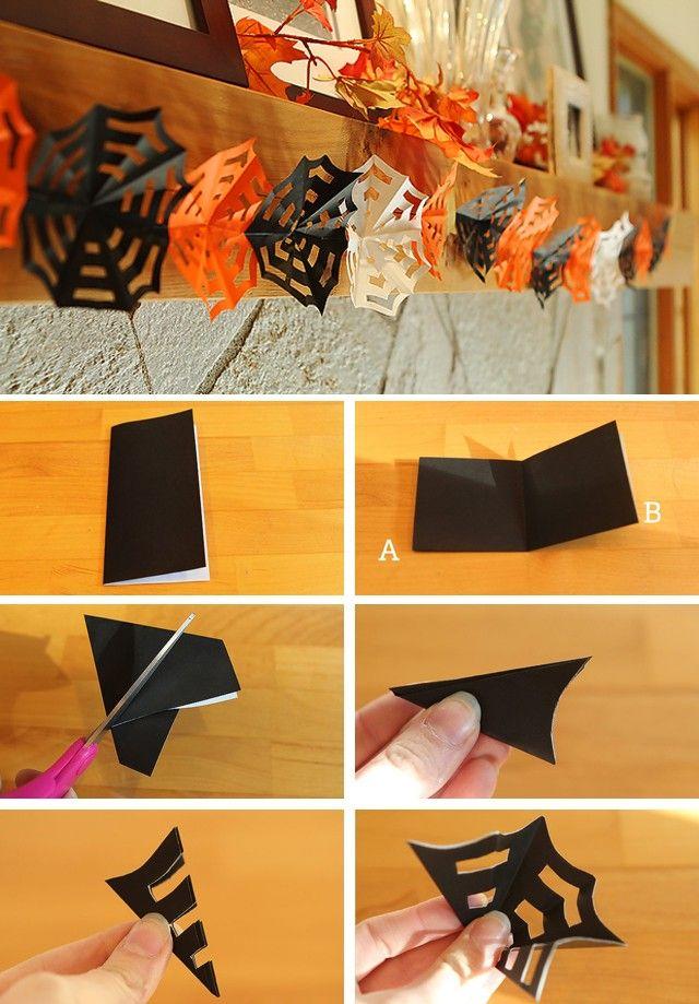 DIY Halloween Decor: How to make origami Spiderweb Garlands