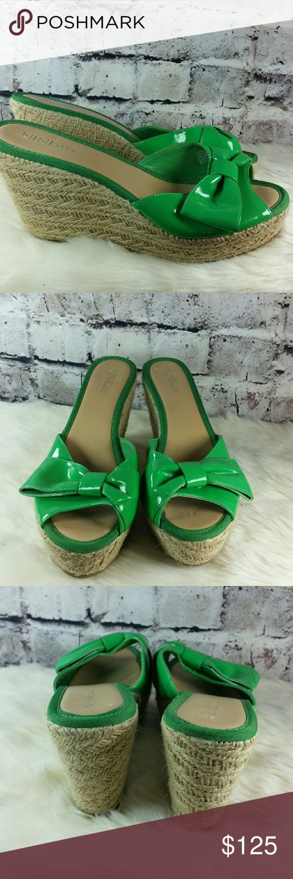 Green patent leather espadrille wedge sandals. Green patent leather espadrille wedge sandals. Style is Enchanter. Heels are 3.75 inches Shoes Wedges