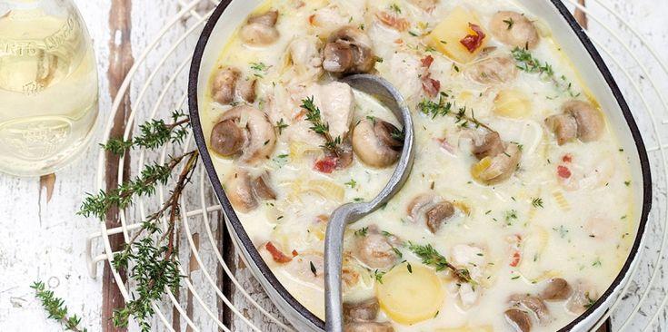 Cocotte de poulet minute à la pancetta et aux champignons