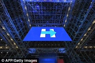 A huge Hillary sign at the Javits Center in Manhattan, where Clinton was supposed to be hosting her victory party