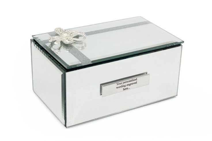 Personalised Beautiful Mirror Glass Glitter & Crystal Bow Jewellery Box Gift  Lovely Mirror jewellery box for that special decorative piece at home. The top has a raised crystal bow and is a lift open top. ~  ~ Size of box ; H:7 W:15 D:9 cm ~ Item comes in a gift box  All you have to do is add a message during checkout, but if you do forget you can always mail us too with your order details.