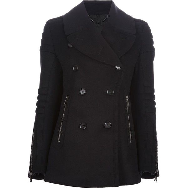 Belstaff ribbed panel peacoat ($1,235) ❤ liked on Polyvore featuring outerwear, coats, jackets, tops, casacos, black, black coat, black pea coat, belstaff coat and double breasted peacoat
