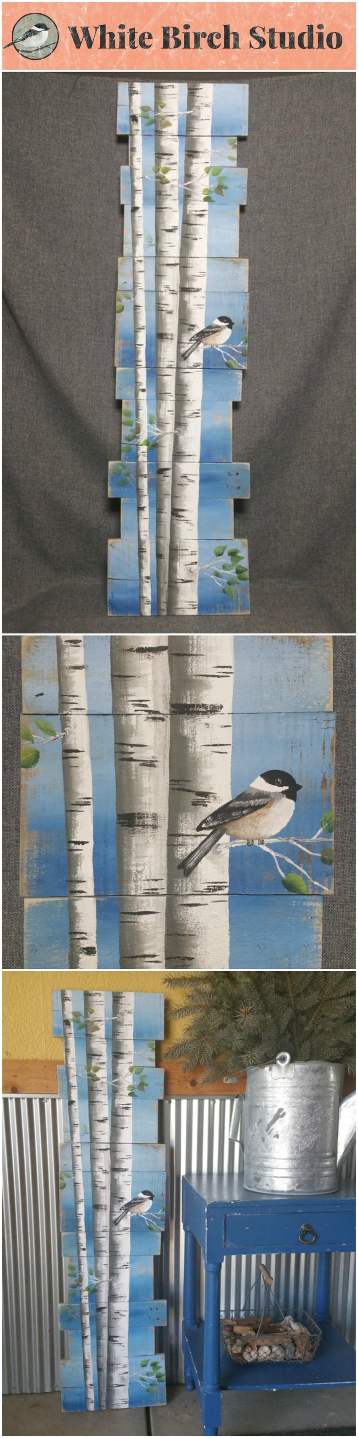 "White Birch Pallet art, Pine tree Reclaimed Wood Pallet Art, TALL Hand painted Aspen, Chickadee bird, upcycled, blue Wall art, Distressed  Original Acrylic painting on reclaimed Pallet boards. This unique piece is 46"" tall x 9-12"" wide  Perfect for that skinny wall space."