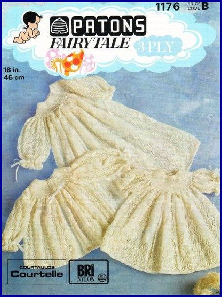 Baby Knitting Pattern Lacy Layette  baby fingering 3 ply Christening 19 ins Dress long and short Jacket Boy Girl  Instant Download PDF by MAGENTASKY67 on Etsy