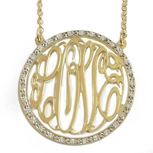 """14k Gold Letter """"Gold"""" Monogram Diamond(0.3carat Twt) Sculpted Necklace with 18"""" Cable Chain"""