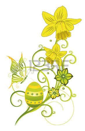 Красочные пасхальные яйца, зеленый весной время сбора photo