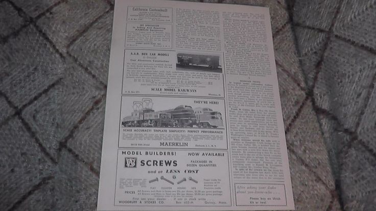 Marklin advertisement in old print newspaper, dates from ca. 1949! CCS, SK, and DL 800 locos!