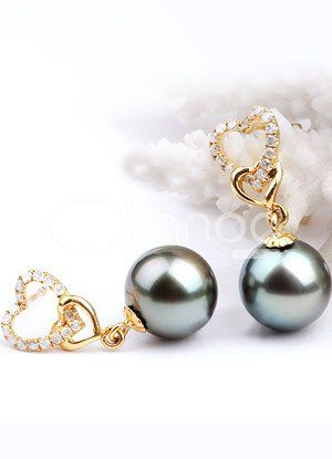 Gold and pearl earrings for women