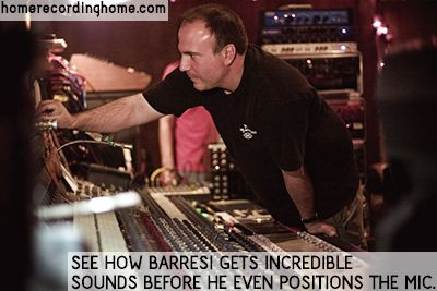 See how Barresi gets incredible sounds before he even positions the mic.   http://homerecordinghome.com/secrets-of-the-masters-evil-joe-barresi/