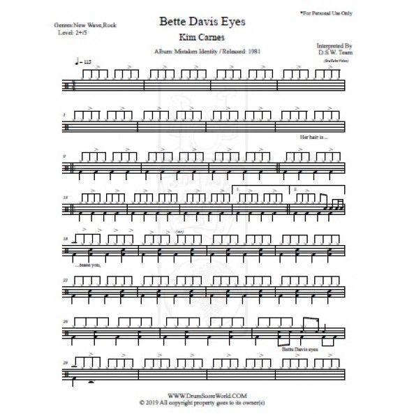 Drum Score Kim Carnes Bette Davis Eyes With Images Bette