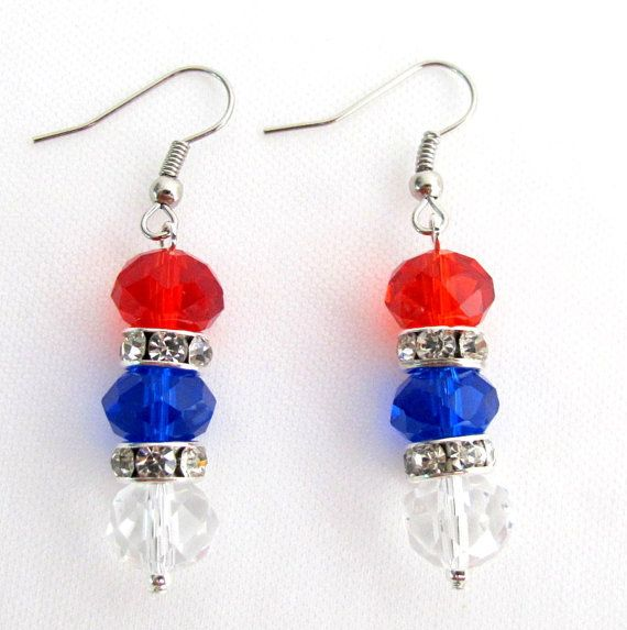 Price :$6.49 USA Independence Patriotic 4th of July Earrings Red Blue White Glass Crystal Beads Free Shipping In US