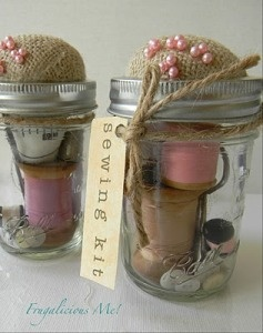Sewing kit in a jar...  Not that unusual but I like the burlap top and colors:) Fun for a bridal shower.