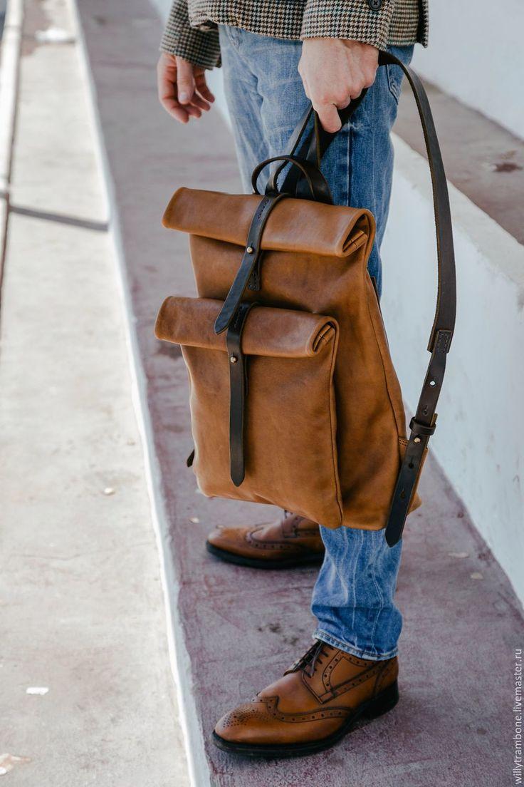 Купить Рюкзак-скрутка коричневый - коричневый, кожаный рюкзак, женский рюкзак, мужской рюкзак из кожи