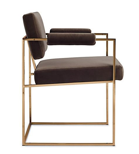 MILO BAUGHMAN, 1188 dining chair, originally designed in 1968. A steel frame with a brushed bronze finish. / D Pages