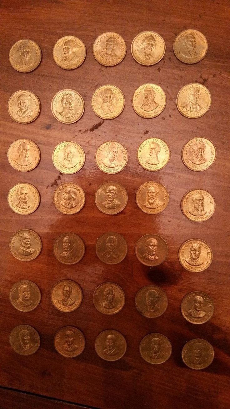 Vintage Gold/Plated Coin History of 35 US Presidents Liberty/In Order