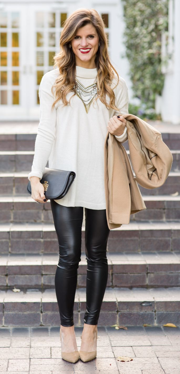 6b3f80affb7 9 ways to wear leather leggings on the blog today  falloutfitideas   winteroutfitideas  snappycasual  leggings