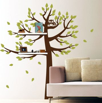 shelving tree with owls contemporary decals - Diy Entfernbarer Backsplash