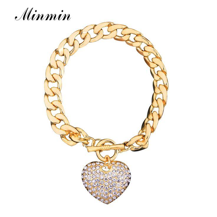 Minmin Zilver/Goud-Kleur Charm Armbanden voor Vrouwen Luxe Sieraden Hanger Ketting Armbanden & Bangles SL063