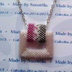 2014/053 - pendentif + chaine - style carré évidé - tissage peyote - perle en cristal, rose fuchsia et chrome