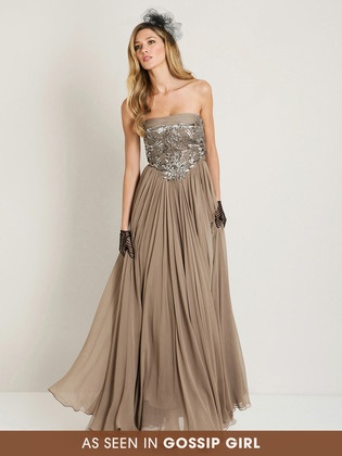 Reem Acra sequin embroidered gown, as seen on Gossip Girl
