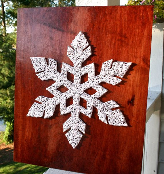 Snowflake String Art Winter String Art by DistantRealms on Etsy