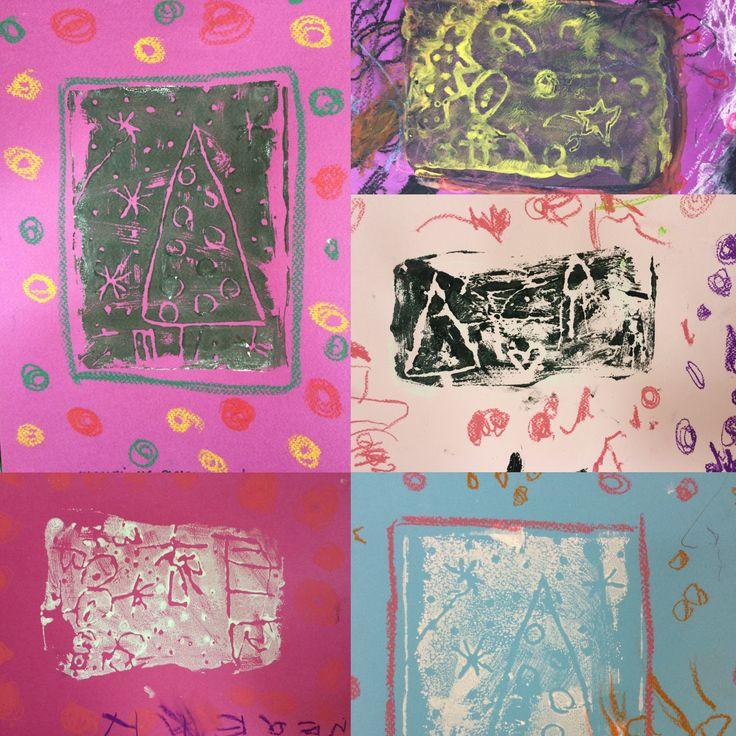 Negative print technique carved on styrofoam by preschoolers #carveonstyrofoam #negativeprint