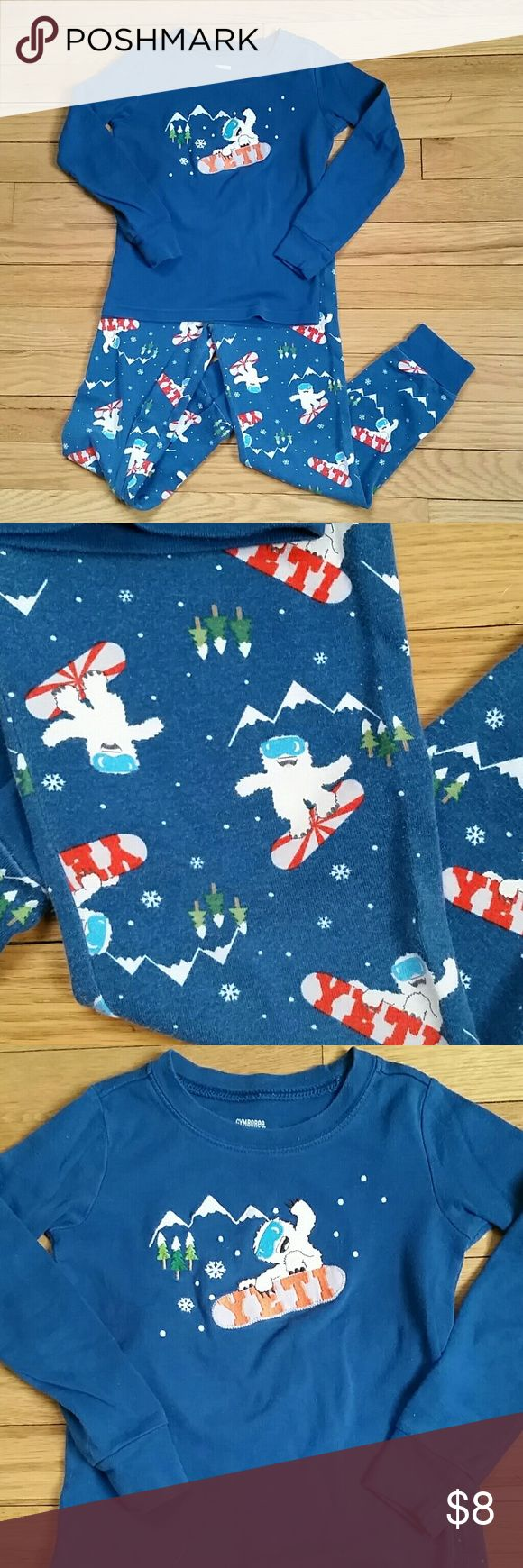 """Size 6 Gymboree pajamas Size 6 long sleeve / long pant 100% cotton pajamas.  * Teal blue (the 2nd picture here is pretty color accurate), fun snowboarding """"Yeti"""" pattern. Top has stitched, applique design. * Made by Gymboree. * In very good condition, always washed in cold. Slight signs of wash wear, but no holes or stains or marks at all. * Pants measure 26-1/2 inches in length, from waist to cuff.  ** See my closet for more great kids and women's items. Make a bundle and get a discount and…"""