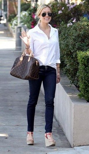 White button down and simple jeans and Louis Vuitton Speedy 30 Bag