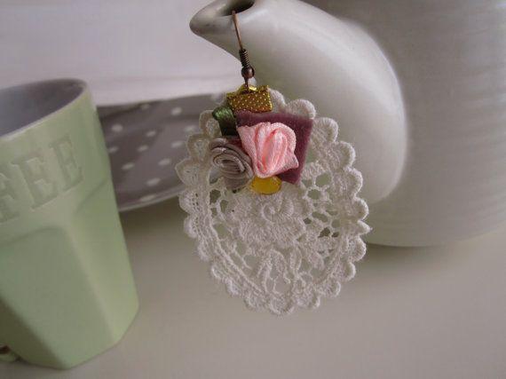 Lace Earings Needlework White Earrings Delicate by catyflowerpower, $15.00