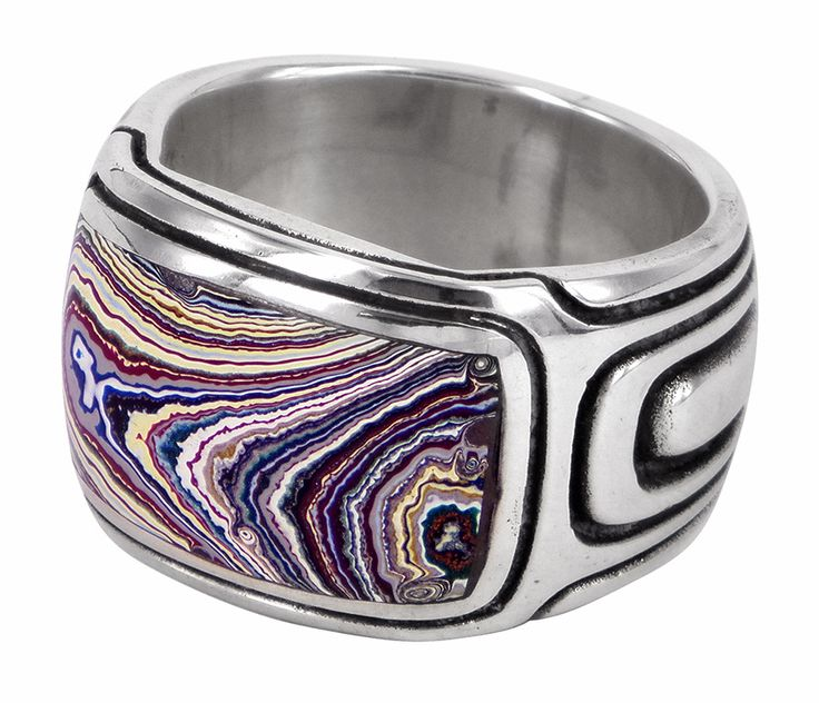 Swell ring with fordite and sterling silver