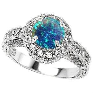 7mm Round Created Blue Opal Engagement Ring