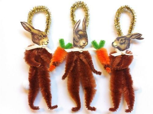 Here Comes Peter Cottontail Vintage Style Chenille Pipe Cleaner Stem Diy Ornament Inspiration Easter
