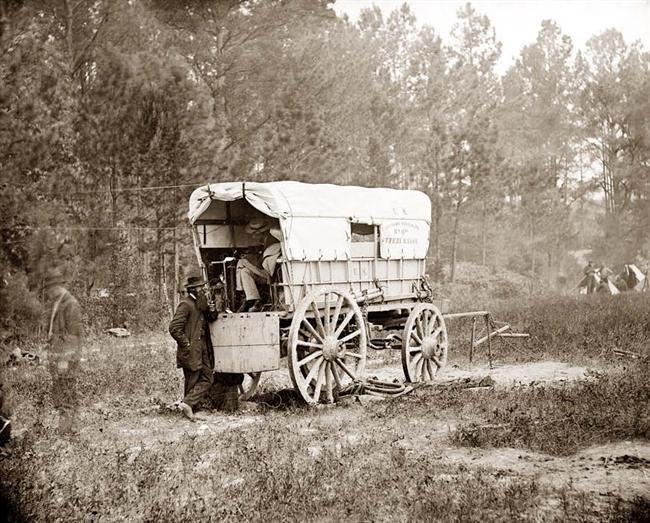 Petersburg, Virginia U.S. Military Telegraph battery wagon, Army of the Potomac headquarters taken in 1864