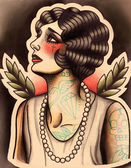 Melancholic Flapper Tattoo Art Print by ParlorTattooPrints on Etsy, $26.00