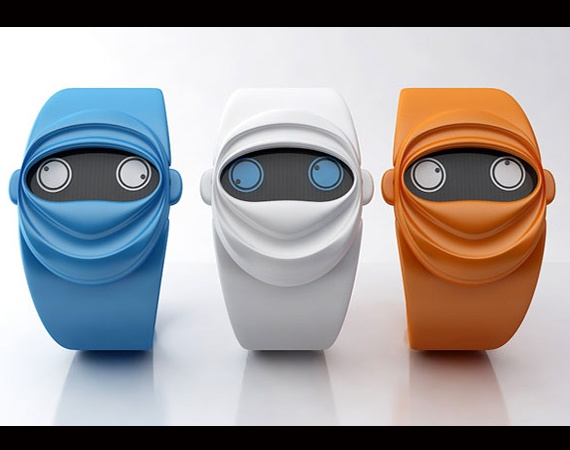 SO Cool!! Ninja Time Watch - ears as knobs for adjustments - time is on display as two ' googly eyes', left for hours, and right for minutes!!! I WANT!!