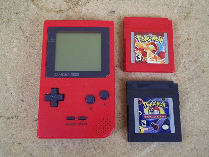 Nintendo Game Boy Pocket System MGB-001 Red Gameboy w/ 2 Pokemon Games - Working #Nintendo