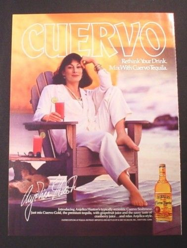 Magazine Ad for Jose Cuervo Tequila, Angelica Houston Celebrity Endorsement, 1987