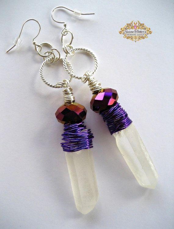 Frosted kwartskristal punt oorbellen zilver hoepels draad gewikkeld paarse iriserende Boho Gypsy chique mode PRIESTERES door spinnen kasteel