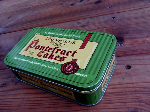 Vintage Tin Dunhills Original Licorice Pontefract Cakes Some