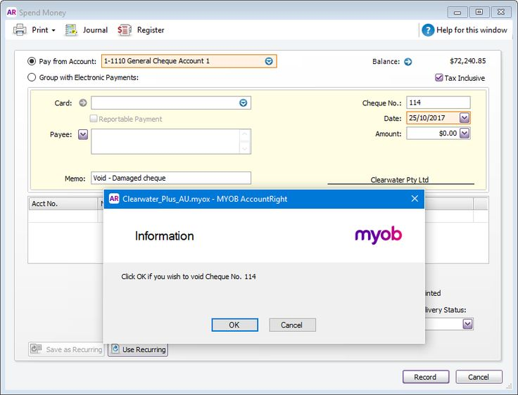 Stale, stopped, void or lost cheques - MYOB AccountRight - MYOB Help Centre