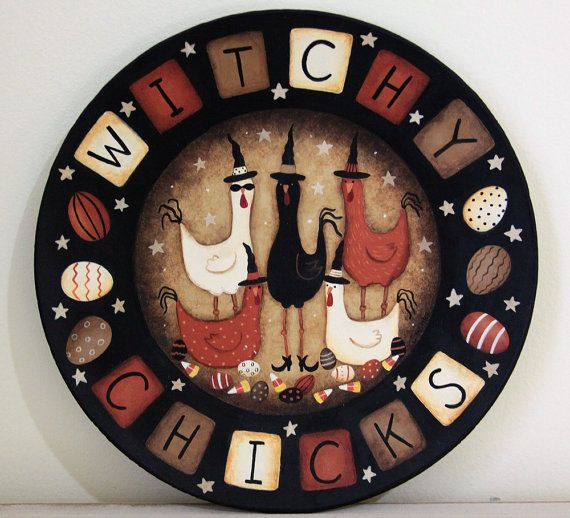 Folk Art Halloween Wood Plate Witchy Chicks  by RavensBendFolkArt