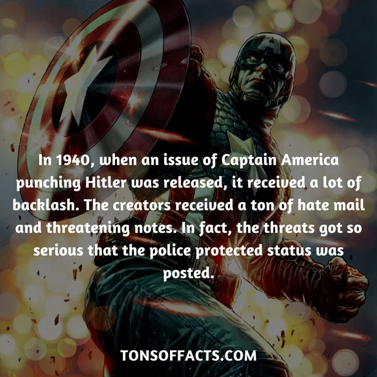 In 1940, when an issue of Captain America punching Hitler was released, it received a lot of backlash. The creators received a ton of hate mail and threatening notes. In fact, the threats got so serious that the police protected status was posted. #captainamerica #theavengers #comics #marvel #interesting #fact #facts #trivia #superheroes #memes #1