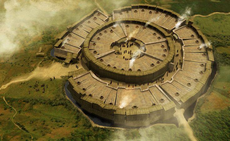 Реконструкция Аркаима - древнего городища на юге Челябинской области, Россия. Городище датируется рубежом III - II тыс. до н. э., либо началом II тыс. до н. э.