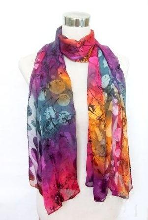 Color Splash! $26: Dyes Pink Purple, Chiffon Satin Ties, Fashion Scarves, Polka Dots Prints, Long Scarfs, Silk Long, Ties Dyes, Scarfs 22, Silk Scarves
