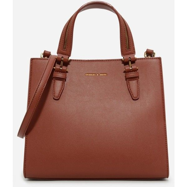 Charles & Keith STRUCTURED HANDBAG (1.071.160 IDR) ❤ liked on Polyvore featuring bags, handbags, tote bags, handbag purse, purse tote bag, man bag, handbags totes and brown tote handbags