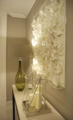 DIY Project Idea - artificial or paper flowers, spray paint and put in shadowbox for 3D art