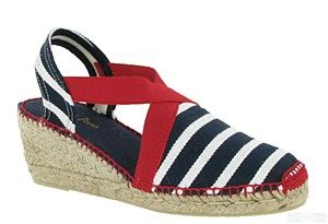 Toni Pons Tarbes is a ladies slingback wedge heeled traditional Spanish made espadrille with nautical inspired striped canvas uppers, contrast cross-over elasticated strap and stitching, slight platform sole and a natural jute covered wedge heel. Size: 36, 37, 38, 39, 40, 41, 42. http://www.robineltshoes.co.uk/store/product/171193/Toni-Pons-Tarbes-Ladies-Wedge-Heeled-Espadrille-Sandal/ #summer #espadrille #sandals #womensfashion #shoes #holidays #wedges